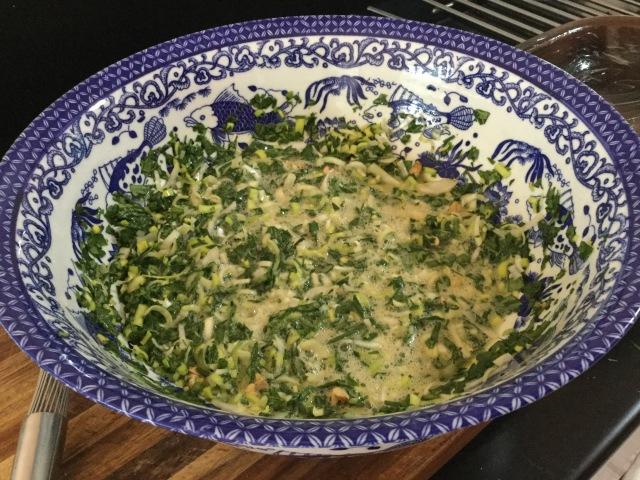 Mix eggs & chopped greens